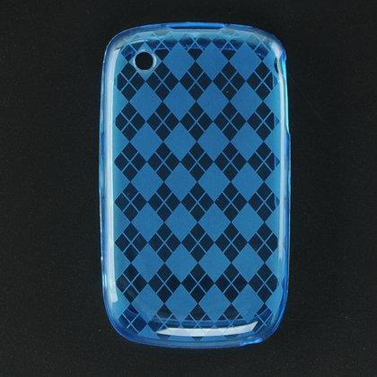 Crystal Gel Check Design Skin Case for Blackberry Curve 8520 - Blue