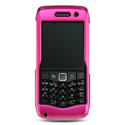Hard Plastic Rubber Feel Case for Blackberry Pearl 9100 - Hot Pink