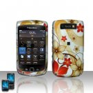 Hard Plastic Rubber Feel Design Case for Blackberry Torch 9800 - Red and Gold Flowers