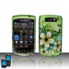 Hard Plastic Rubber Feel Design Case for Blackberry Torch 9800 - Green Flowers and Butterfly