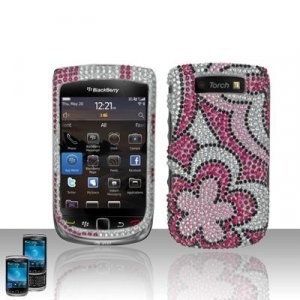 Hard Plastic Bling Rhinestone Design Case for Blackberry Torch 9800 - Silver and Pink Flowers