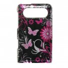 Hard Plastic Design Case for HTC HD7/HD7S - Pink Butterfly