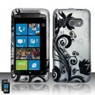 Hard Plastic Rubber Feel Design Case for HTC Surround - Silver and Black Vines
