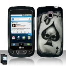Hard Plastic Rubber Feel Design Case for LG Optimus T - Ace of Spade Skull