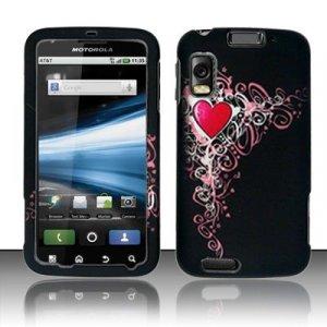 Hard Plastic Rubber Feel Design Case for Motorola Atrix 4G MB860 - Royal Heart