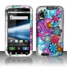 Hard Plastic Rubber Feel Design Case for Motorola Atrix 4G MB860 - Purple and Blue Flowers