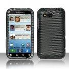 Hard Plastic Rubber Feel Design Case for Motorola Defy MB525 - Carbon Fiber