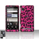 Hard Plastic Rubber Feel Design Case for Motorola Droid 2 A955 - Hot Pink Leopard