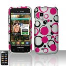 Hard Plastic Rubber Feel Design Case for Samsung Fascinate i500 - Black and Pink Dots