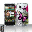 Hard Plastic Rubber Feel Design Case for Samsung Fascinate i500 - Silver and Pink Butterfly