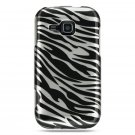 Hard Plastic Design Cover Case for Samsung Galaxy Indulge R910 - Silver and Black Zebra