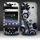 Hard Plastic Rubber Feel Design Case for Samsung Nexus S i920 - Silver and Black Vines