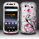 Hard Plastic Rubber Feel Design Case for Samsung Nexus S i920 - Silver and Pink Flowers