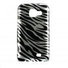 Hard Plastic Design Cover Case for Samsung Transform M920 - Silver and Black Zebra