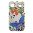 Hard Plastic Design Cover Case for Samsung Vibrant T959 - White Rainbow Butterfly
