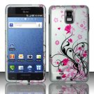 Hard Plastic Rubber Feel Design Case for Samsung Infuse 4G i997 - Silver and Pink Flowers