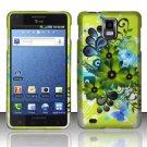Hard Plastic Rubber Feel Design Case for Samsung Infuse 4G i997 - Green Flowers