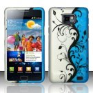 Hard Plastic Rubber Feel Design Case for Samsung Galaxy S II i9100 - Silver and Blue Vines