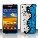 Hard Plastic Rubber Feel Design Case for Samsung Galaxy S II Epic 4G Touch - Silver and Blue Vines