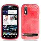 Crystal Gel Check Design Skin Case for Motorola Photon 4G - Red