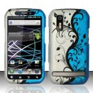 Hard Plastic Rubber Feel Design Case for Motorola Photon 4G - Silver and Blue Vines
