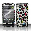 Hard Plastic Rubber Feel Design Case for Motorola Droid X MB810/X 2 MB870 - Rainbow Leopard