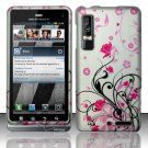 Hard Plastic Rubber Feel Design Case for Motorola Droid 3 - Silver and Pink Flowers