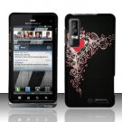 Hard Plastic Rubber Feel Design Case for Motorola Droid 3 - Royal Heart