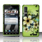Hard Plastic Rubber Feel Design Case for Motorola Droid 3 - Green Flowers and Butterfly