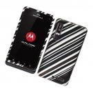Hard Plastic Rubber Feel Design Case for Motorola Droid 3 - Modern Silver Lines