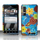 Hard Plastic Rubber Feel Design Case for Motorola Droid 3 - Jazzy Flowers