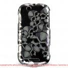 Hard Plastic Design Case for Motorola Cliq MB200 - Black Skulls