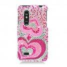 Hard Plastic Bling Rhinestone Design Case for LG Thrill 4G - Pink Hearts
