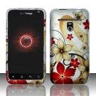 Hard Plastic Rubber Feel Design Case for LG Revolution 4G VS910 - Red and Gold Flowers