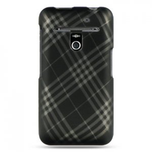 Hard Plastic Rubber Feel Design Case for LG Revolution 4G VS910 - Smoke Diagonal Check