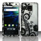 Hard Plastic Rubber Feel Design Case for LG Optimus G2x - Silver and Black Vines