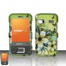 Hard Plastic Rubber Feel Design Case for Huawei M750 - Green Flowers and Butterfly
