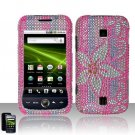 Hard Plastic Bling Rhinestone Design Case for Huawei Ascend M860 - Hot Pink Flowers