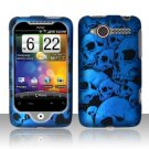 Hard Plastic Rubber Feel Design Case for HTC Wildfire 6225 - Blue Skulls