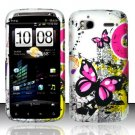 Hard Plastic Rubber Feel Design Case for HTC Sensation 4G - Silver and Pink Butterfly