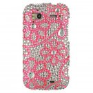 Hard Plastic Bling Rhinestone Design Case for HTC Sensation 4G - Hot Pink Lace