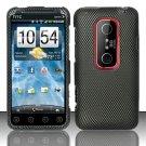 Hard Plastic Rubber Feel Design Case for HTC Evo 3D - Carbon Fiber