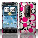 Hard Plastic Rubber Feel Design Case for HTC Evo 3D - Black and Pink Dots
