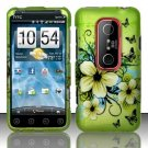 Hard Plastic Rubber Feel Design Case for HTC Evo 3D - Green Flowers and Butterfly