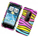 Hard Plastic Rubber Feel Design Case for HTC Evo 3D - Abstract Zebra
