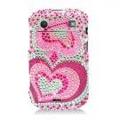 Hard Plastic Bling Rhinestone Design Case for Blackberry Bold 9900/9930 - Pink Hearts