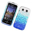 Hard Plastic Bling Rhinestone Design Case for Blackberry Torch 9850/9860 - Silver and Blue Waterfall