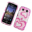Hard Plastic Bling Rhinestone Design Case for Blackberry Torch 9850/9860 - Pink Hearts