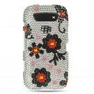 Hard Plastic Bling Rhinestone Design Case for Blackberry Torch 9850/9860 - Black Daisy