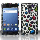 Hard Plastic Rubber Feel Design Case for Samsung Infuse 4G i997 - Rainbow Leopard
